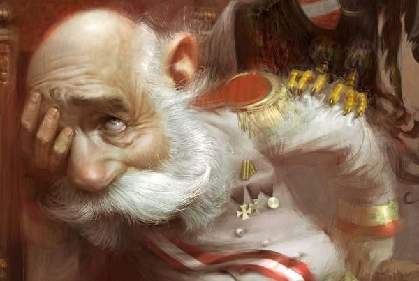 Ausschnitt Karikatur von Franz Josef I, sitzend auf Throne, Weltkrieg I