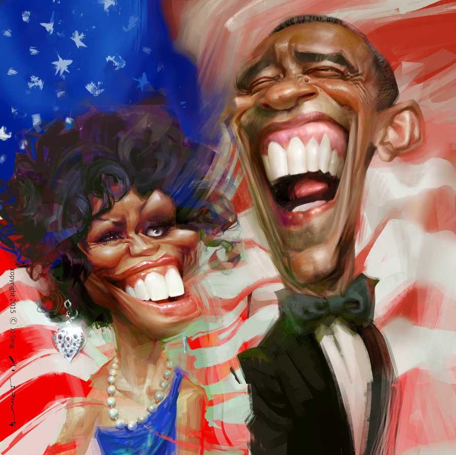 Karikatur von U.S. President Obama und seine Frau, Michelle, gezeichnet vom Karikaturist Xi Ding, kleine Version