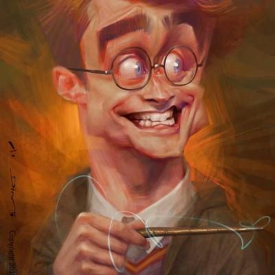 Karikatur Daniel Radcliffe als Harry Potter, gezeichnet von Xi Ding