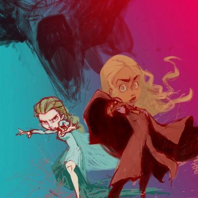 Karikatur Daenerys (Khaleesi) und Elsa (Eiskönigin) - Schritt 09