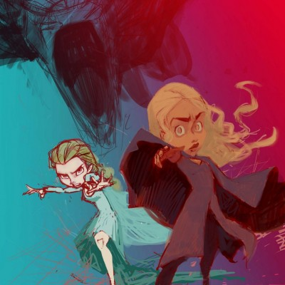 Karikatur Daenerys (Khaleesi) und Elsa (Eiskönigin) - Schritt 10