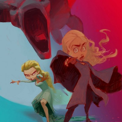 Karikatur Daenerys (Khaleesi) und Elsa (Eiskönigin) - Schritt 12