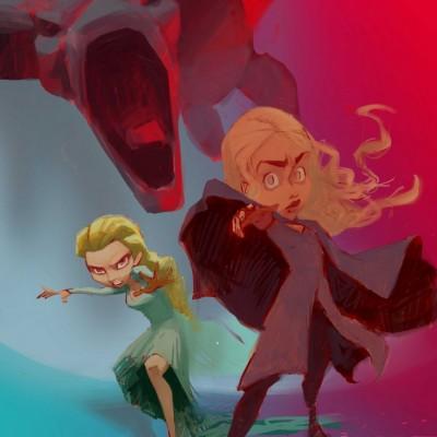 Karikatur Daenerys (Khaleesi) und Elsa (Eiskönigin) - Schritt 13
