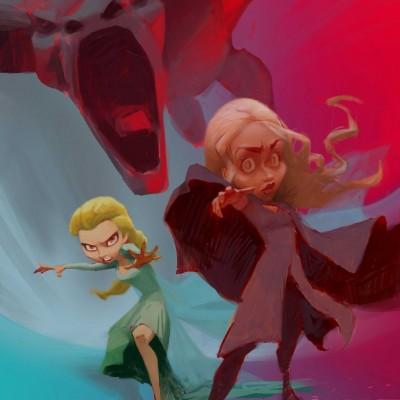 Karikatur Daenerys (Khaleesi) und Elsa (Eiskönigin) - Schritt 15
