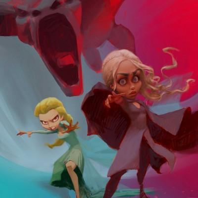 Karikatur Daenerys (Khaleesi) und Elsa (Eiskönigin) - Schritt 16