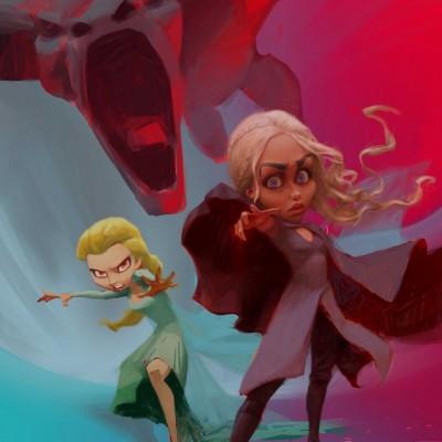 Karikatur Daenerys (Khaleesi) und Elsa (Eiskönigin) - Schritt 18
