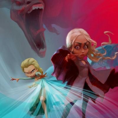Karikatur Daenerys (Khaleesi) und Elsa (Eiskönigin) - Schritt 20