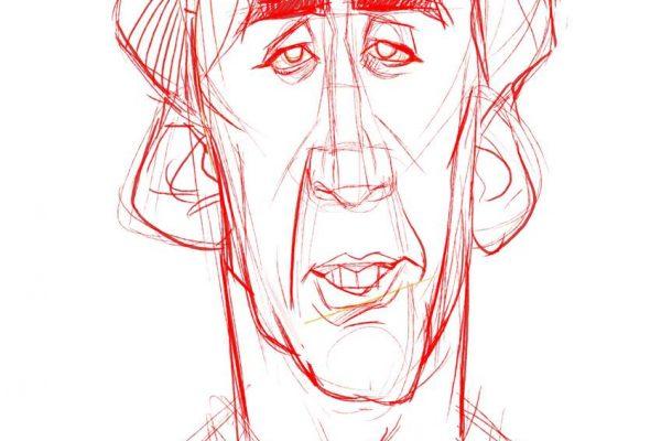 Karikatur Zeichnen Demo Nicolas Cage 06