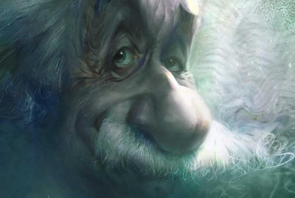 Karikatur von Albert Einstein, ein Ausschnitt, Caricature , Close-up