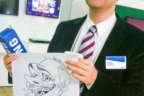 Schnellzeichner auf Messe, Karikatur Digital