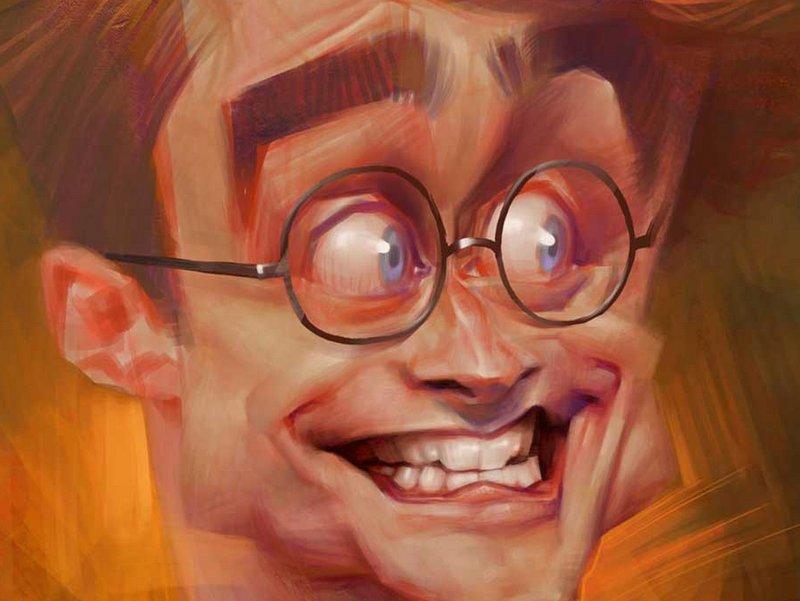 Ausschnitt von der Karikatur Daniel Radcliffe als Harry Potter, gezeichnet von Xi Ding