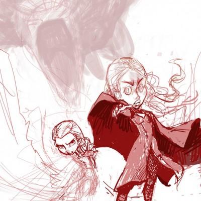 Karikatur Daenerys (Khaleesi) und Elsa (Eiskönigin) - Schritt 05