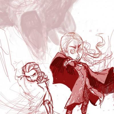 Karikatur Daenerys (Khaleesi) und Elsa (Eiskönigin) - Schritt 06