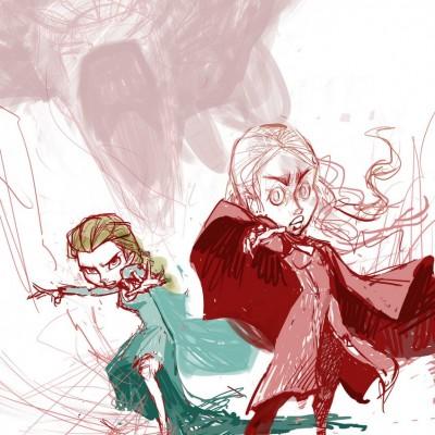Karikatur Daenerys (Khaleesi) und Elsa (Eiskönigin) - Schritt 07