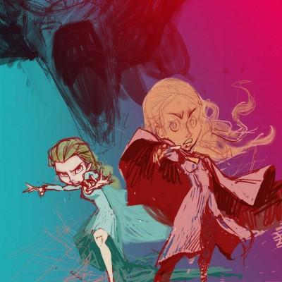 Karikatur Daenerys (Khaleesi) und Elsa (Eiskönigin) - Schritt 08