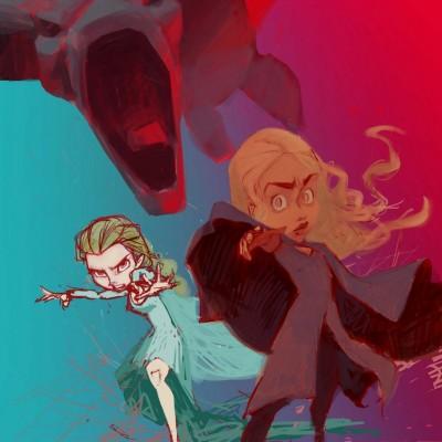 Karikatur Daenerys (Khaleesi) und Elsa (Eiskönigin) - Schritt 11