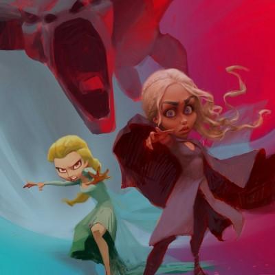 Karikatur Daenerys (Khaleesi) und Elsa (Eiskönigin) - Schritt 17
