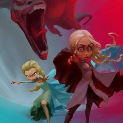 Karikatur Daenerys (Khaleesi) und Elsa (Eiskönigin) - Schritt 19