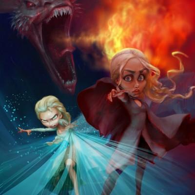 Karikatur Daenerys (Khaleesi) und Elsa (Eiskönigin) - Schritt 21