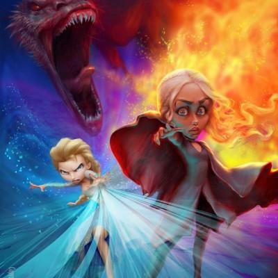 Karikatur Daenerys (Khaleesi) und Elsa (Eiskönigin)