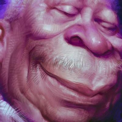Eine Karikatur von BB King, Ausschnitt Gesicht