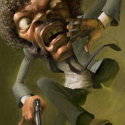 "Karikatur von Samuel L Jackson im Film ""Pulp Fiction"""