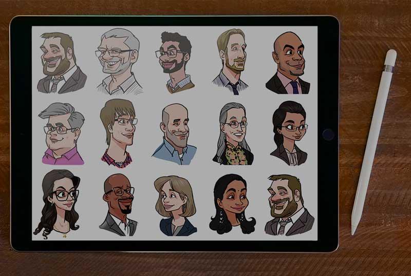 Live Karikatur auf iPad
